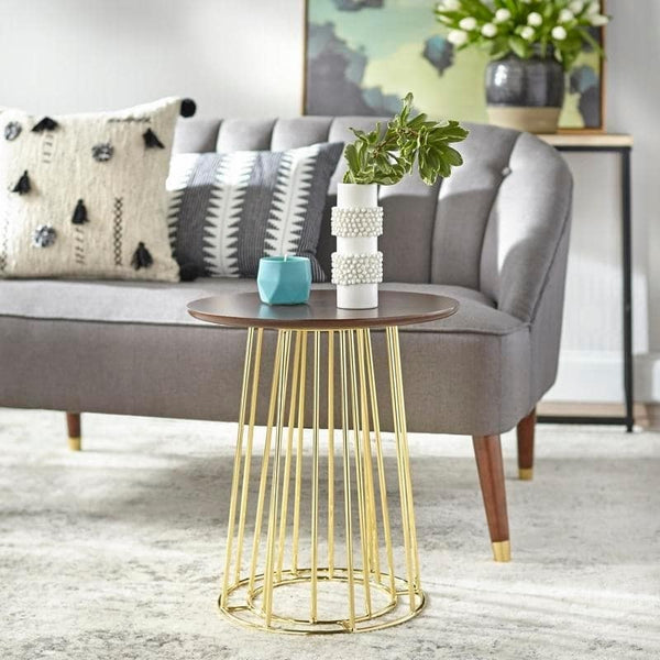 angelo:HOME End Table - Yvonne (walnut/gold) - angelo:HOME