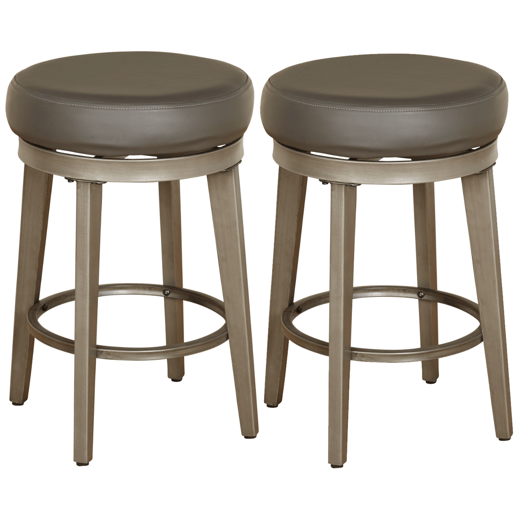 angelo:HOME Swivel Stools - Linden Leather set of 2 (grey) - angelo:HOME