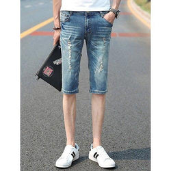 Stylish Slimming Zipper Fly Rivets Embellished Destroy Wash Straight Leg Men's Denim Shorts