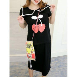 Sweet Plus Size Sailor Collar T-Shirt and Back Slit Skirt Twinset For Women