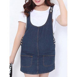 Sweet Plus Size Button Fly Solid Color Denim Pinafore Skirt For Women