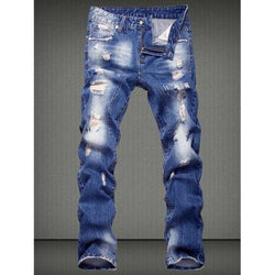 Casual Ripped Straight Legs Denim Pants For Men