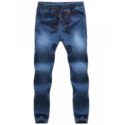 Casual Drawstring Waistband Elastic Bottom Loose Jeans For Men