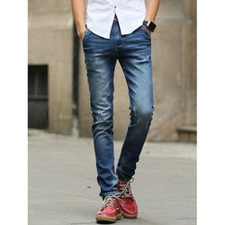 Striped Pockets Hem Design Mid-Wash Slim Fit Jeans For Men