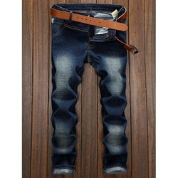 Spliced Design Bleach Wash Straight Leg Jeans