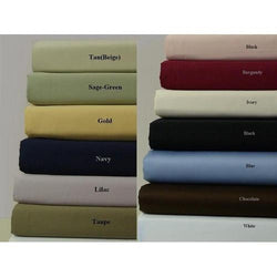300TC Solid Cotton Luxury Bed Sheet Sets Color: Taupe Size: Queen