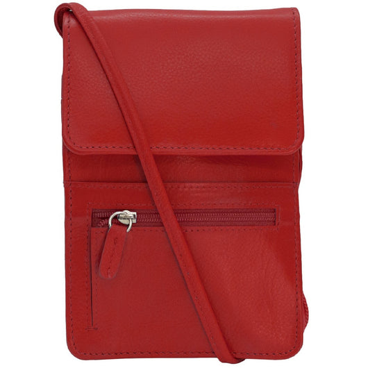 RFID Blocking Leather Organizer on a String - Red