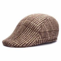 Men Women Woolen Thick Plaid Stripe Newsboy Beret Hat Duckbill Cowboy Golf Flat Cabbie Cap