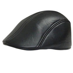 Men Women PU Leather Newsboy Beret Hat Duckbill Cowboy Golf Flat Cabbie Cap