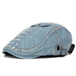 Mens Unisex Washed Denim Cotton Fake Pocket Beret Hats Casual Golf Driving Newsboy Flat Caps