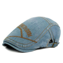 Men Unisex Washed Denim Beret Hat Casual Golf Driving Newsboy Flat Caps