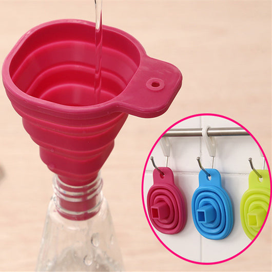 FoodyMine High Quality 1pc New Mini Silicone Gel Foldable Collapsible Style Funnel Hopper Kitchen cooking tools