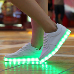 8 Colors LED Luminous Shoes Unisex Led Shoes for Adults Men Glowing Shoes USB Charging Light chaussure lumineuse - golf-post