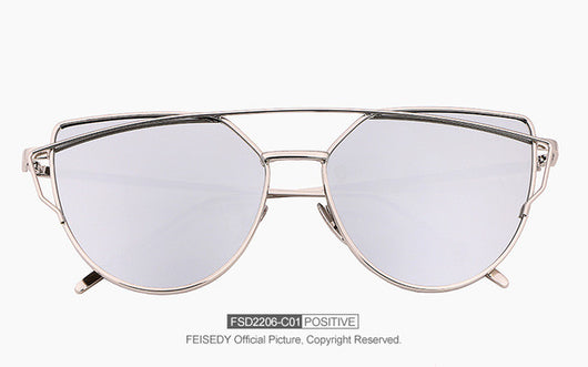 Fashion Cat Eye Sunglasses Women Brand Designer Metal Reflective Mirror Sun Glasses For Women Twin-Beams Glasses Gafas - golf-post