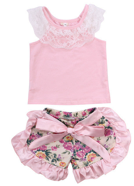 Toddler Baby Girl Clothes Lace Tops T-shirt+Floral Shorts Culottes Outfits Kids Clothing Set Costume 0-24M - golf-post