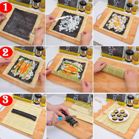 New arrival Sushi Making Tool Set Sushi Rolling Bamboo Mats with Bamboo Spoon Sushi Roller Pad Sushi DIY Maker Tool