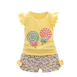 2PCS Toddler Kids Baby Girls set Outfits Lolly T-shirt Tops+Short children Clothes Set