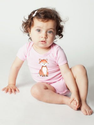 Woodland little fox baby clothes bodysuit pink