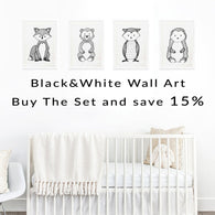 Set Of Black and White Woodland Animal Wall Art Prints