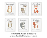 woodland animals wall art print set little fox