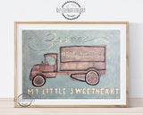 Vintage Watercolor Truck Wall Art Print 'Become Good-Humored My Little Sweetheart' for boys nursery decor