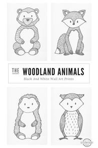 Black & White Woodland Animal Wall Art Prints. Boy Nursery Signs. Woodland creatures, Monochrome nursery decor.