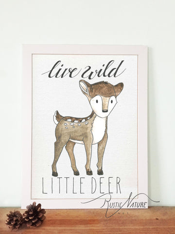 Woodland nursery little deer prints wall art