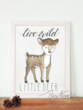 woodland little deer wall art print