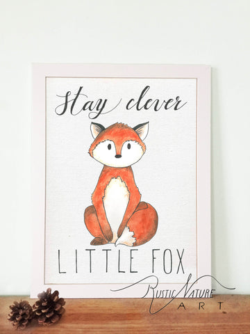 Woodland nursery little fox prints wall art