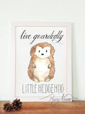woodland little hedgehog wall art print