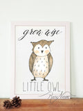 Woodland nursery little owl prints wall art