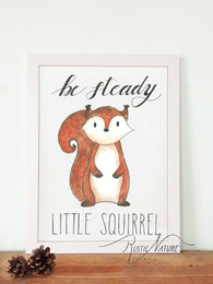 Woodland nursery little squirrel prints wall art