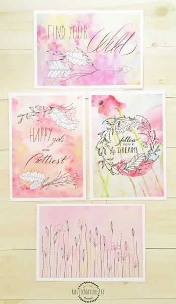 Girly Quote Wall Art Print Set of 4 with a Boho arrows flower - 'Happy Girls are the Prettiest' 'Find Your Wild' 'Follow Your Dreams'