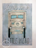 Vintage Watercolor Truck Wall Art Print 'Learn Care Little Hero' gender neutral