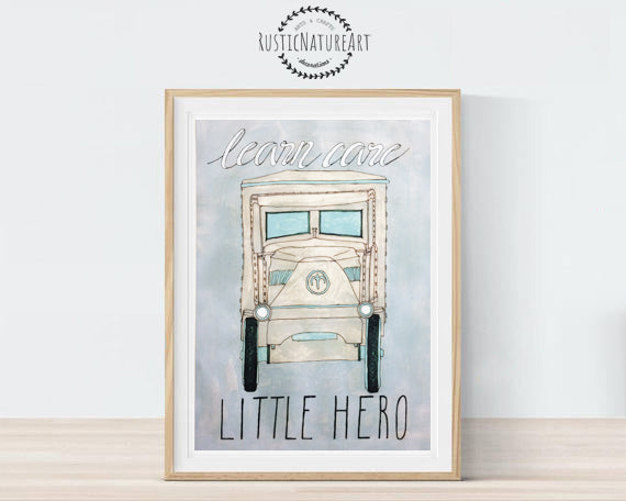 vintage cars boy nursery decor. wall art print boys room decor
