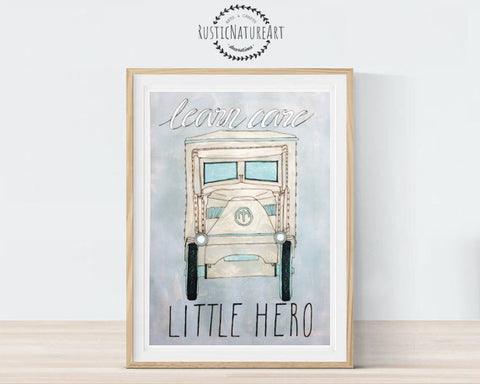 Vintage Cars Boy Nursery Decor Wall Art Print Boys Room