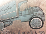 🎄Vintage Watercolor Truck Wall Art Set of 4 to Decorate Nursery use 15%off coupon