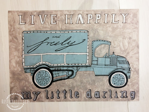 Vintage Watercolor Truck Wall Art Print \'Live Happily and Truly My ...