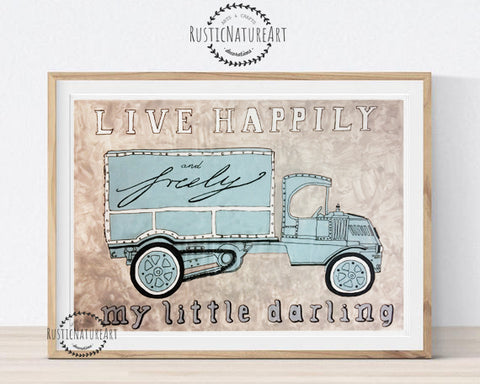 live happily my little darling vintage car design boys nursery decor wall art print watercolor