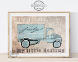oldtimer car wall art print, boys nursery art, boy room decor car, truck, van, vintage design watercolor