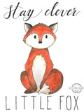 Woodland Animals Little Fox Wall Art Print