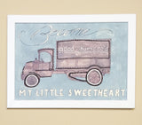 Vintage Watercolor Truck Wall Art - Become good-humored my little sweetheart