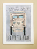 Vintage Watercolor Truck Wall Art - Learn Care Little Hero