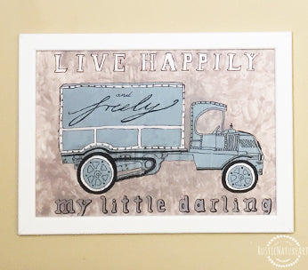 Vintage Watercolor Truck Wall Art Print 'Live Happily and Truly My Little Darling' for boys nursery decor