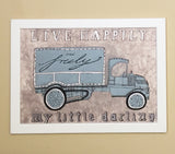 Vintage Watercolor Truck Wall Art - Live Happyly And Truly My Little Darling