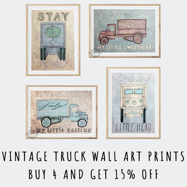 Vintage Watercolor Truck Wall Art Set of 4 to Decorate Nursery use 15%off coupon