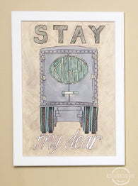 Vintage Watercolor Truck Wall Art Print 'Stay Right My Dear' for boys nursery decor