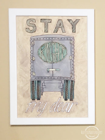 Greatest Vintage Watercolor Truck Wall Art Print 'Stay Right My Dear' for  DU76