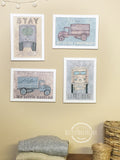 Vintage Watercolor Truck Wall Art Set of 4 to Decorate Nursery