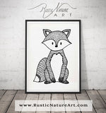Black&White Fox, Animal prints for your nursery, Modern Nursery Animals, Animal Wall Art, Kids Room Decor, Contemporary Art,Baby Room gift
